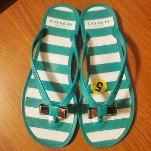 Coach Flip Flop Sandals with Silver Bow